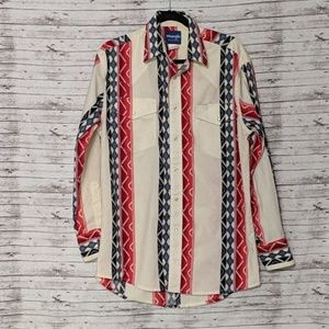 Wrangler Western Shirt Sz:M red, cream,blue aztec